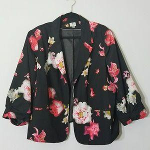 Worthington Black Blazer with Floral Pattern - 3X